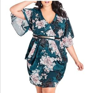 City Chic Jade Blossom Side Draped Dress Size S/16